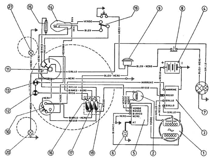 schemi elettrici moto d epoca  schema impianto elettrico
